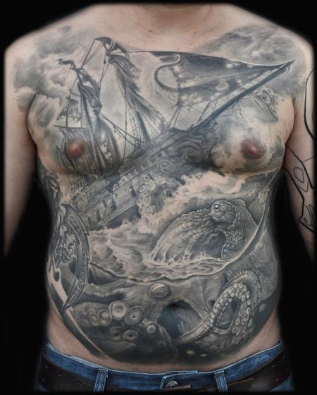 Tattoos - EPIC SHIP AND OCTOPUS KRAKEN CHEST TATTOO - 94031